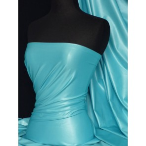 Turquoise micro wet look stretch lycra fabric Q925 TQS
