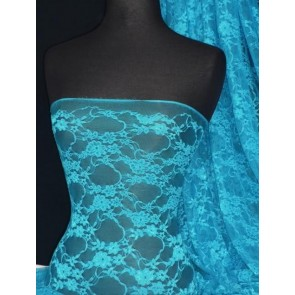 Turquoise Blue Flower Soft Stretch Lace Lycra Q137 TQS