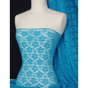 Turquoise Flower Soft Stretch Lace Lycra Fabric Q365 TQBL