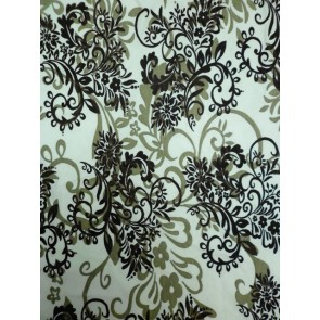 Brown/Ivory Victorian Design Viscose Cotton Stretch Fabric Q1077 BRNIV