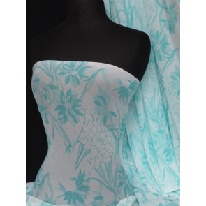 White blue floral stretch helenka sheer Q937 WHTBL