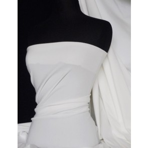 White Bengaline Stretch Cotton Poplin Fabric Q1006 WHT