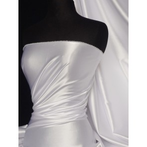 White Super Soft Satin Stretch Fabric Q710 WHT