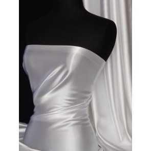White Medium Weight Satin Fabric Q243 WHT