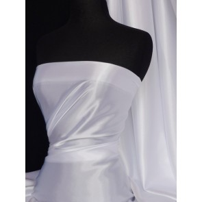 White Satin Fabric / Material Q449 WHT