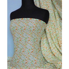Yellow ditsy floral 100% cotton poplin fabric Q624 YL